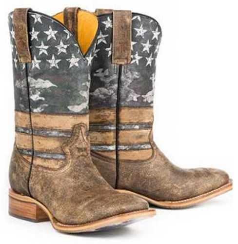 Tin Haul American Flag Dogtag Cowboy Boots - Square Toe